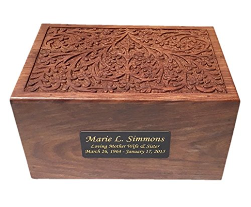 NWA Beautiful Adult Size Wood Human Funeral Cremation Urn with Custom Engraving