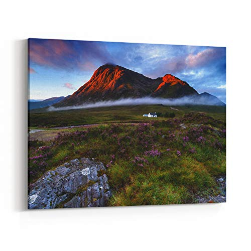 Rosenberry Rooms Canvas Wall Art Prints - Sunrise Over The Mountain Tops at Glencoe in The Highlands of Scotland (24 x 20 inches)