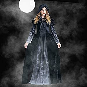 ERANLEE Halloween Witch Vampire Costume Ghost Skeleton Black Long Dress for Women