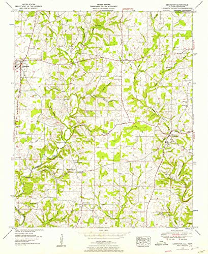 YellowMaps Lexington AL topo map, 1:24000 Scale, 7.5 X 7.5 Minute, Historical, 1952, Updated 1957, 26.8 x 21.9 in - Paper -