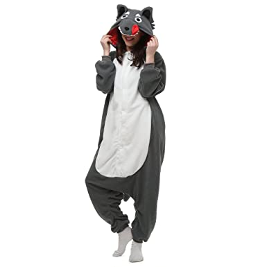 ebe20d29f25f Amazon.com  Grey Wolf Adult Onesie. Animal Pajama Costume for Teenagers