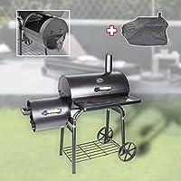 BBQ Smoker Grill-Set schwarz XXL Räucherofen Garten ✔ Rollen ✔ Deckel ✔ Ablagefläche ✔ rund ✔ rollbar ✔ stehend grillen ✔ Grillen mit Holzkohle ✔ mit Station ✔ mit Rädern