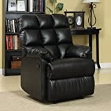 ProLounger Wall Hugger Microfiber Biscuit Back Renu Leather Recliner Chair - Hardwood frame - Ultra-padded Arm Rests and 100 Percent Bonded Renu Leather Fabric (Black)
