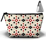 Bing4Bing Oxford Fabric Poker Flowers Trapezoid Receive Bag,Sewing Kit Cartridge Bag Cosmetic Bag Storage Bag