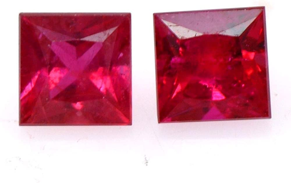 Red Rubies Jewelry Making Ratnagarbha Ruby Cut Square Shape Faceted Loose gem Stone Wholesale Price. Ruby Red Color