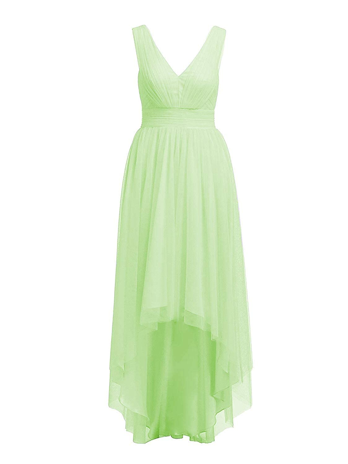 Sage Cdress High Low Bridesmaid Dresses Tulle HiLo Prom Party Dress VNeck Evening Formal Gowns