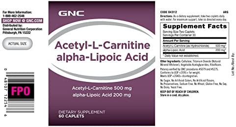 GNC Acetyl-L-Carnitine Alpha-Lipoic Acid, 60 Capsules, Supports Energy Metabolism