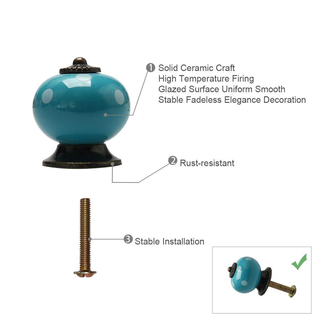 1pcs Sourcing map Boutons de porte vintage en c/éramique avec poign/ée de traction pour meuble TV placard commode blanc placard