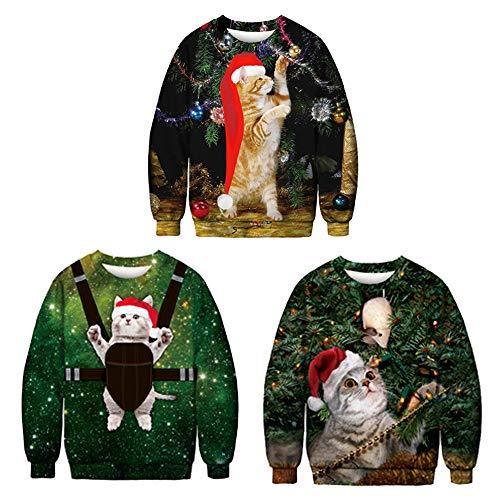 di di Stampa Valentino 3D Manica Abbigliamento C Natale Vestiti Vestiti Giorno Moda JING San di Lunga Girocollo Donna Ringraziamento F1P1Xq