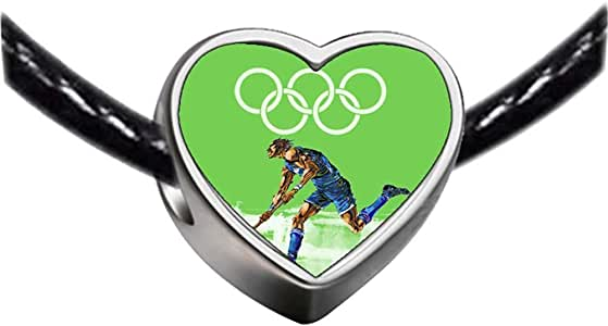 Chicforest Silver Plated Olympics Hockey athlete playing Photo Heart Charm Beads Fits Pandora Charms