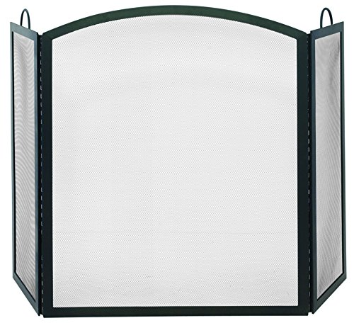 Uniflame, S-1507, Large 3 Fold Black Wrought Iron Screen with Arch Top