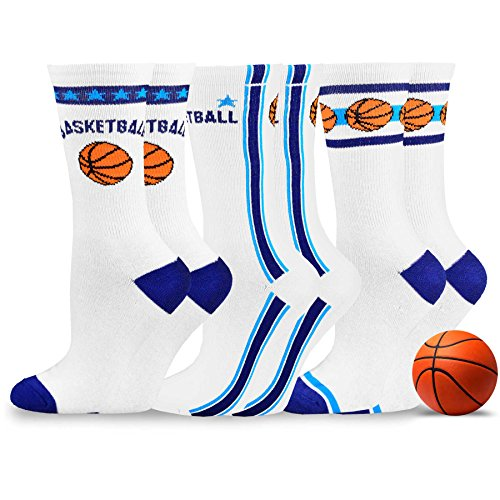 TeeHee Sports Design Theme Fashion Socks 3-Pair Pack (9-11, Basket 1 Royal)