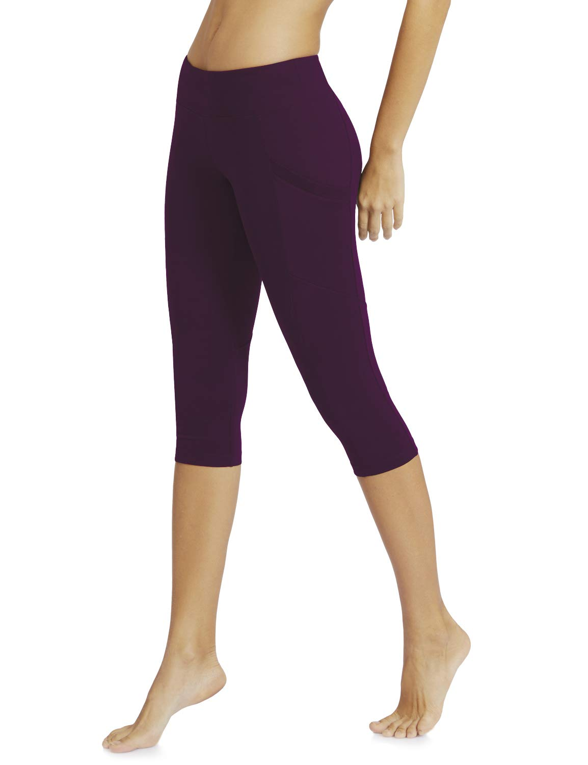 e7d26df0a9f2a Baleaf Women's Yoga Workout Capris Leggings Side Pocket for 5.5