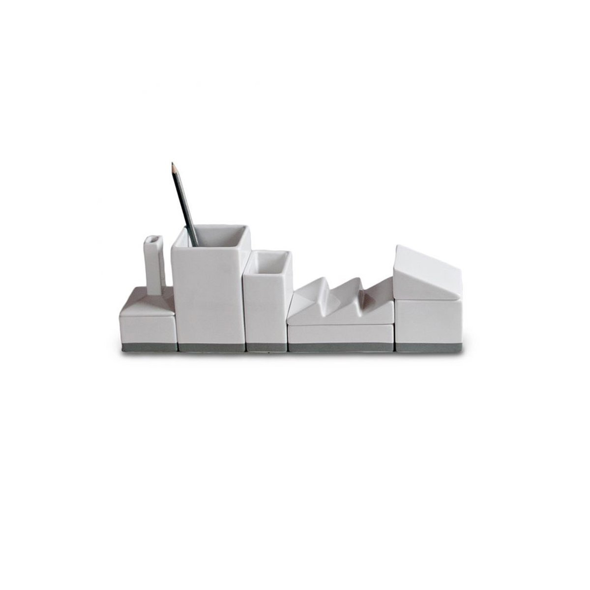 Seletti Vorratsdose deskstructure Lager Organizer Set, Porzellan, Weiß/Grau, 33x 6,5cm Weiß/Grau 33x 6 5cm 10692