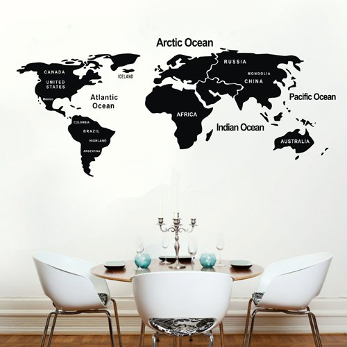 TGSIK DIY Global World Map Atlas Wall Sticker Decal with Country ...