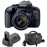 Canon EOS Rebel T7i DSLR Camera with 18-55mm Lens with Vello BG-C15 Battery Grip and Journey 34 DSLR Shoulder Bag (Black)