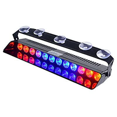 WOWTOU Emergency Strobe Dash Light Red Blue Red 16W 12 LED with 16 Flash Patterns for Police Hazard Warning Cars POV Traffic Advisors: Home & Kitchen