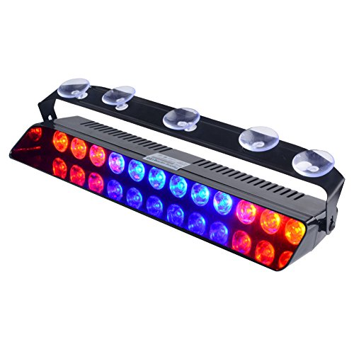 WOWTOU Emergency Strobe Dash Light Red Blue Red 16W 12 LED with 16 Flash Patterns for Police Hazard Warning Cars POV Traffic Advisors