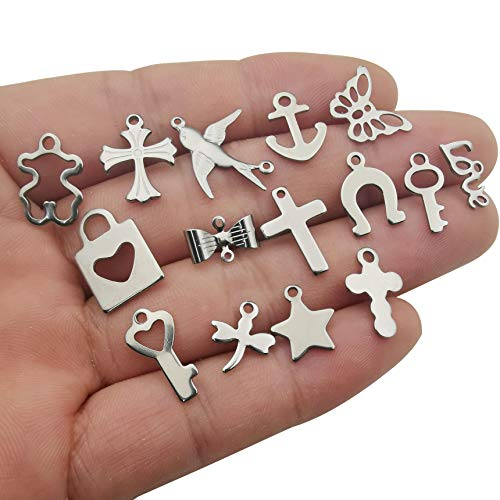 Youdiyla 120pcs Stainless Steel Charms, Cross Swallow Butterfly Key Anchor Love Lock Dragonfly Star Charm Metal Pendant Supplies Craft Findings for Bookmark Jewelry Making (HM246)