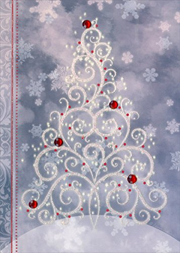 Sparkling Christmas Tree - LPG Handcrafted Embellished Box of 12 Christmas Cards