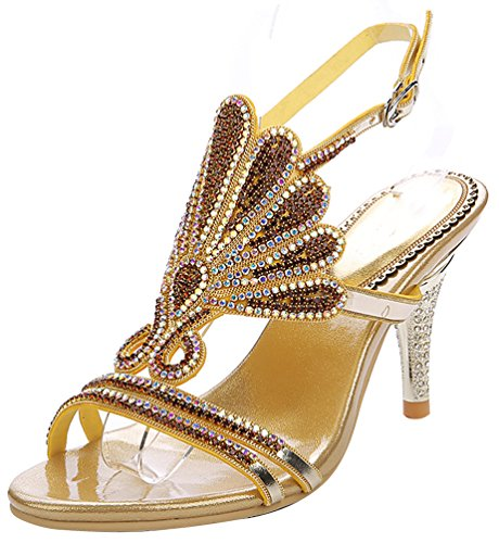 Abby L037 Womens Sexy Unique Rhinestone Wedding Bride Bridesmaid Party Prom Ankle Strap Cone Heel Slingback Sandals Gold 7aACuXcE