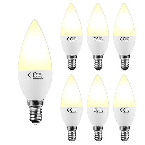 Lampaous® - Bombillas LED tipo vela E14, 7W, 3.000K