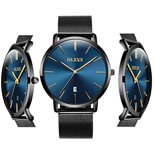 OLEVS Inexpensive Blue Watches for Men Waterproof Minimalist Thin Couples Watches with Date Mens Analog Quartz Gift Watch Stainless Steel for Birthday Party Business