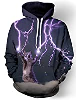 Ensnovo Unisex 3D Digital Print Galaxy Pocket Pullover Hooded Sweatshirt