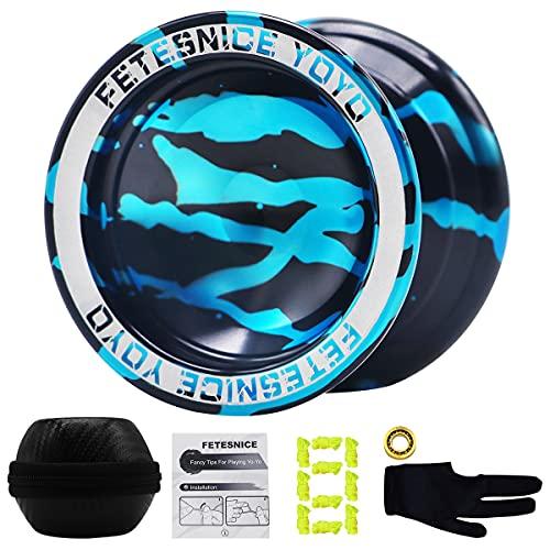 FETESNICE Responsive Professional YoYo, Aluminum Yo Yo for Kids Beginner, Replacement Unresponsive Ball Bearing for Advanced Yoyo Players, Black with Blue Splash