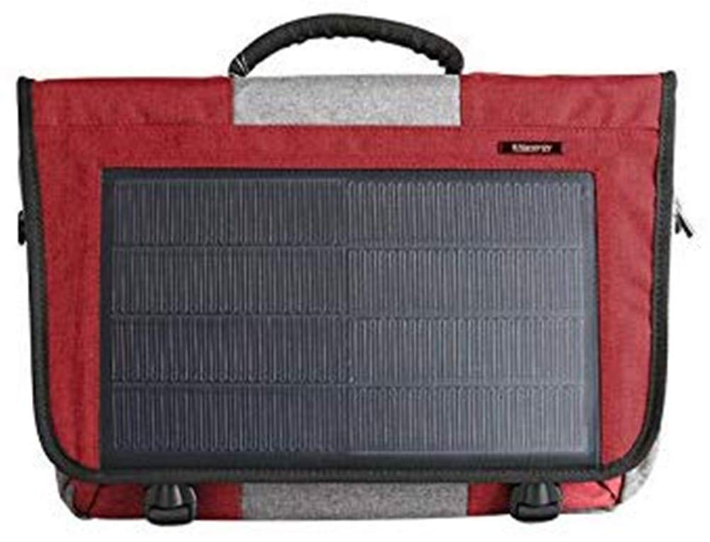 HANERGY 8W Solar Powered Laptop Computer Messenger Bags Electronics Bags Business Office Cases (Red) by HANERGY