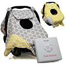 Sho Cute - [Reversible] All-Season Carseat Canopy | Multi-Use Car Seat Covers | Unisex Grey Honey Comb & Yellow Chevron | Nursing Cover | Universal Fit | Baby Gifts Boy or Girl -Patent Pending