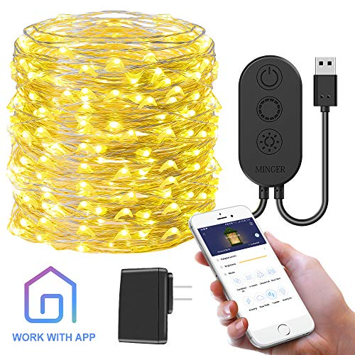 MINGER Govee App Controlled String Light, 33FT 100LED Plug-in Light, 8 Modes Waterproof Twinkle Fairy Light for Bedroom, Patio, Backyard, Parties, Weddings, Thanksgiving Day, Christmas (Warm White)
