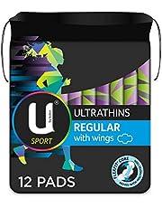 U BY KOTEX Ultrathins U By Kotex Sport Ultrathin Pads Regular with Wings (Pack of 12), Pack of 12 0.1 kilograms