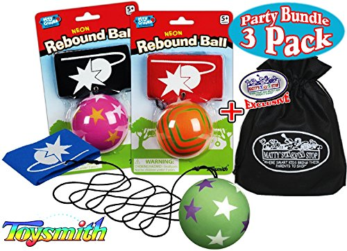 Mattys Toy Stop Toysmith Neon Rebound Balls Party Set Bundle with Exclusive Storage Bag - 3 Pack (Assorted Colors & Designs)
