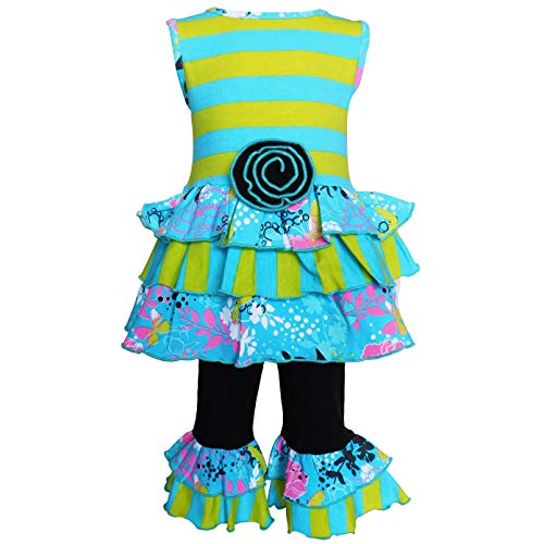 Rumba Outfit Capri - AnnLoren Tween Girls 9-10 Spring Blue Butterfly & Striped Rumba Tunic & Capri