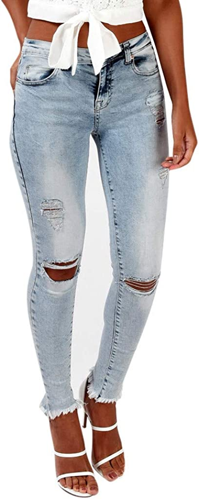 Women's Casual Hole Jeans...