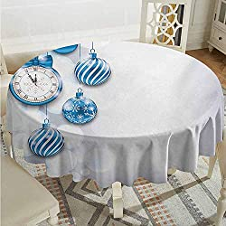 XXANS Spill-Proof Table Cover,Clock,New Year Theme with A Clock and Glass Balls Illustration Christmas Xmas Celebration Pattern,Table Cover for Kitchen Dinning Tabletop Decoratio,60 INCH,Blue