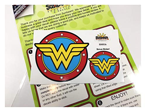 Sunbeam Decals Wonder Woman Classic Circle Logo Sticker. Peel and Stick Vinyl Decal for car Window, Laptop, 30oz Tumbler. Great for Hard to Shop for Women SD0016 -