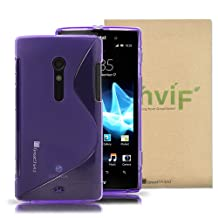 GreatShield Guardian S Series Slim-Fit S-Shape Design TPU with Case Greatsheild Logo for Sony Xperia Ion - (Purple)