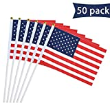 YSJ Stick Flag with Ball Tip American Flag on Stick Handheld Stick Flags for 4th July, 50 Pack