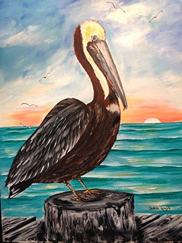 Pelican on post at sunrise art print Geneva Trimble - Shore West Sun