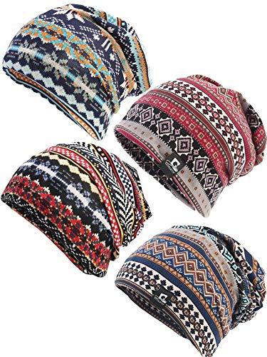 Zhanmai 4 Pieces Slouchy Beanie Ponytail Hats for Women Messy High Bun, Cotton Cap Thin Soft Stretch