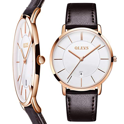 Ultra Thin Watches for Men,Mens Simple Brown Leather Watch,Men's Business Quartz Watch Leather Band 30m Waterproof Wrist Watches,Rose Gold Watches Men,Automatic Calendar Watch with White ()