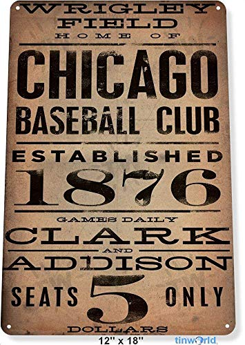 LHZJ Fashionable TIN Sign Chicago Wrigley Field Card Metal Decor Art Baseball 8X12 inchs Metal tin Sign