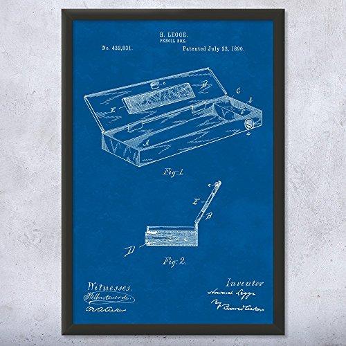 Framed Art Print Pencil - Framed Pencil Box Print, Writer Gift, School Principal, English Teacher, Journalism Student, Calligraphy, Penmanship Blueprint (9