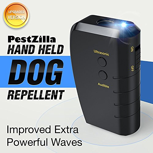 PestZilla Handheld Dog Repellent and Trainer with White LED Flashlight / Pocket size Ultrasonic Dog Deterrent and Bark Stopper + Dog Trainer Device [UPGRADED VERSION]