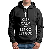 XiaoTing Mens Keep Calm and Let God Leisure Walk Black Fleece