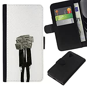 A-type (Máscara Significado Profundo Depresión Traje) Colorida Impresión Funda Cuero Monedero Caja Bolsa Cubierta Caja Piel Card Slots Para LG Nexus 5 D820 D821