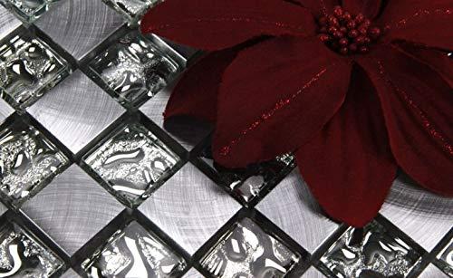 Glasmosaik Mosaike Mosaikfliesen Glasfliesen Mosaik Glas Aluminium geb/ürstet neu