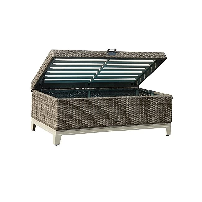 Wondrous Orange Casual Oc Outdoor Aluminum Frame Resin Wicker Storage Bench Box With Tea Table Function Seat Cushion Gray Rattan And Blue Cushion Cjindustries Chair Design For Home Cjindustriesco